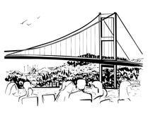 Иллюстрация нарисованная рукой с Bosphorus в Стамбуле Стоковая Фотография RF