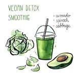 Иллюстрация нарисованная рукой с smoothie vegan Иллюстрация вектора