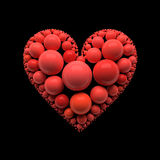 Иллюстрация на черноте - путь сердца клиппирования Стоковое Изображение RF