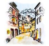 Иллюстрация немецкого города Фрайбурга im Breisgau стоковое изображение rf