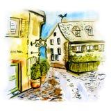 Иллюстрация немецкого города Фрайбурга im Breisgau стоковые изображения rf