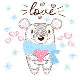 Иллюстрация объятий милого медведя огромная Влюбленность и сердце иллюстрация вектора