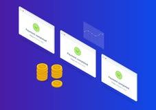 Иллюстрация оплаты успешная равновеликая с золотыми монетками и диаграммой Стоковая Фотография RF