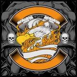 Иллюстрация орла графического дизайна эмблемы логотипа орла мотоцикла американская - вектор иллюстрация штока