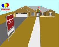 Иллюстрация открытого дома стоковое изображение rf