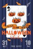Иллюстрация партии хеллоуина с тыквами, летучими мышами и играя карточкой Стоковое Фото