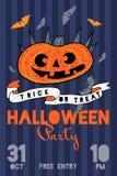 Иллюстрация партии хеллоуина с тыквами, летучими мышами и цветками Стоковые Фото