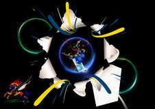 иллюстрация перевода 3d футуристических технологических форм морща из разрушенного черного художественного произведения космоса иллюстрация штока
