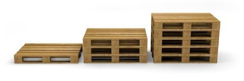 Иллюстрация перехода 3D паллета деревянная Стоковые Изображения RF