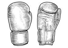 Иллюстрация перчаток бокса, чертеж, гравировка, чернила, линия искусство, вектор Стоковые Фото