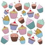 Иллюстрация пирожного вектора Комплект пирожных нарисованных рукой Стоковые Изображения RF