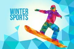 Иллюстрация плаката сноубординга в низком стиле полигона иллюстрация штока