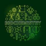 Иллюстрация плана зеленого цвета вектора биохимии круглая иллюстрация штока