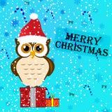 Иллюстрация поздравительной открытки рождества сыча иллюстрация штока