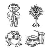 Иллюстрация помадки шоколада еды doodle эскиза продуктов какао вектора нарисованная рукой Стоковое Изображение