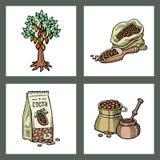 Иллюстрация помадки шоколада еды doodle эскиза продуктов какао вектора нарисованная рукой Стоковая Фотография RF
