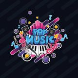 Иллюстрация поп-музыки красочного вектора детальная бесплатная иллюстрация