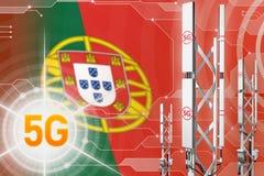 Иллюстрация Португалии 5G промышленная, большой клетчатый рангоут сети или башня на современной предпосылке с флагом - иллюстраци иллюстрация вектора