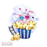 Иллюстрация праздников приветствию Свинья шаржа акварели в коробке мозоли шипучки с стеклами и фильмом кино смешной сярприз бесплатная иллюстрация