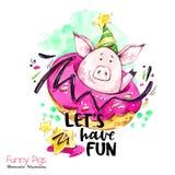 Иллюстрация праздников приветствию Свинья шаржа акварели с литерностью и донутом выходных Смешная цитата Символ партии подарок бесплатная иллюстрация