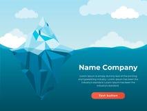 Иллюстрация предпосылки айсберга Айсберг низких иллюстраций стиля полигона большой с линией голубыми волнами, плоским стилем Des  иллюстрация вектора