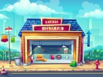 Иллюстрация предпосылки мультфильма вектора гараж на открытом воздухе стоковая фотография rf
