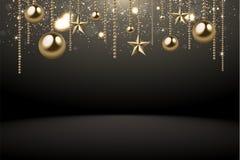 иллюстрация предпосылки 2018 рождества с золотом confetti снежинки звезды шарика рождества и черными цветами Иллюстрация вектора