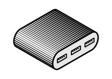 Иллюстрация прибора эпицентра деятельности USB компьютера периферийная иллюстрация штока