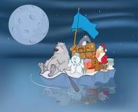 Иллюстрация приключений Санта Клауса и его друзей стоковая фотография