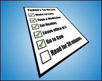 Иллюстрация принципиальной схемы к повседневности или день сегодня перечисляют или список задачи - взгляд перспективы Стоковое Изображение RF