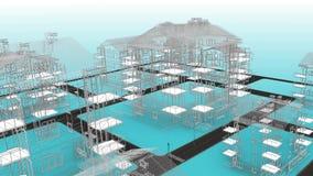 Иллюстрация проекта 3D недвижимости - видео- 4K сток-видео