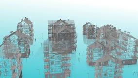 Иллюстрация проекта 3D недвижимости - видео- 4K видеоматериал
