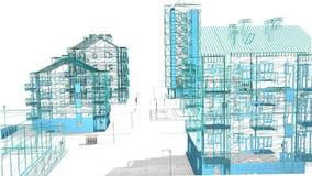 Иллюстрация проекта 3D недвижимости - видео- 4K акции видеоматериалы