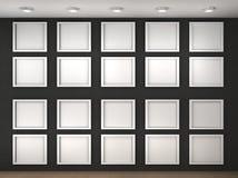 Иллюстрация пустой стены музея с рамками Стоковая Фотография RF