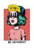 Иллюстрация различной холодной девушки творческая иллюстрация штока