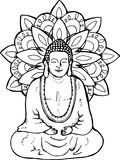 Иллюстрация размышляя Будды Мандала в стиле sentangle стена улицы надписи на стенах искусства цветастая покрытая бесплатная иллюстрация