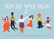 Иллюстрация разнообразной группы в составе скача женщины стоковые фото