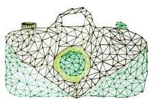 Иллюстрация ретро зеленой сетноой-аналогов руки камеры вычерченная Геометрическая иллюстрация камеры вектора иллюстрация штока