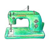 Иллюстрация ретро швейной машины Стоковое Изображение