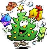 Иллюстрация рождества которое жонглирует подарками Стоковые Изображения