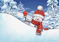Иллюстрация рождества, ландшафт зимы, развевать снеговика шаржа Стоковые Изображения RF