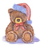 Иллюстрация рождества плюшевых медвежоат на белой предпосылке Стоковое Фото
