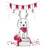 Иллюстрация рождества с смешной собакой Нарисованное рукой labrado вектора Стоковое Изображение RF
