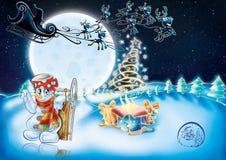Иллюстрация рождественской открытки иллюстрация вектора