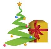 Иллюстрация рождественской елки и подарка Стоковые Изображения RF