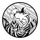 Иллюстрация руки вектора вычерченная акулы молота с сюрреалистическим ландшафтом иллюстрация штока