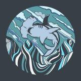 Иллюстрация руки вектора вычерченная акулы молота с сюрреалистическим ландшафтом иллюстрация вектора