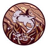 Иллюстрация руки вектора вычерченная акулы молота с сюрреалистическим ландшафтом бесплатная иллюстрация