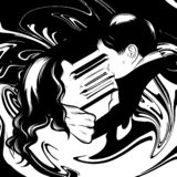 Иллюстрация руки вектора вычерченная сюрреалистическая 2 любовников иллюстрация штока
