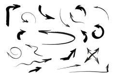 Иллюстрация руки вектора стрелки установленной изолированная щеткой иллюстрация штока
